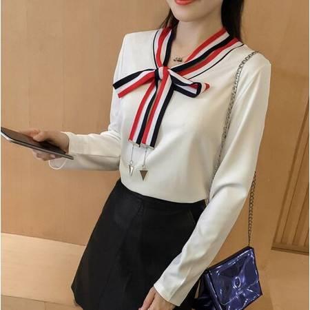秋装韩版通勤修身拼接撞色V领系带长袖T恤打底衫