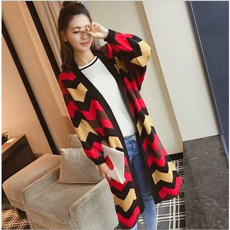 韩版针织衫女开衫中长款波浪纹V领毛衣大码宽松外套