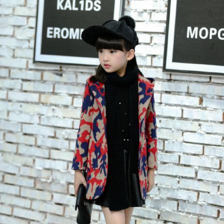 童外套2016童装新款女童冬装韩版毛呢外套 中大童迷彩服呢子大衣