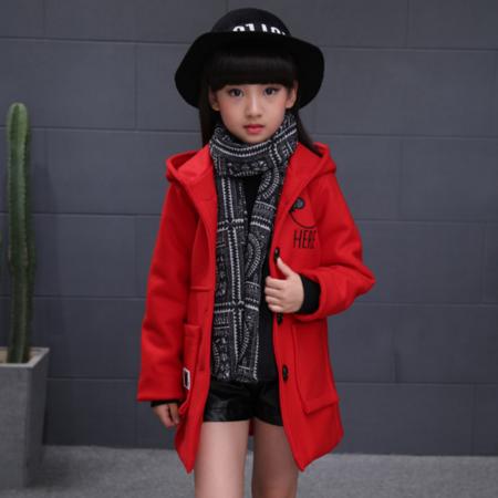 童装冬款 女童连帽大扣子加棉加厚毛呢大衣 儿童笑脸呢子外套
