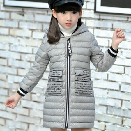 2016冬季新款字母印花女中大童棉衣加厚儿童棉服韩版修身女童棉衣外套