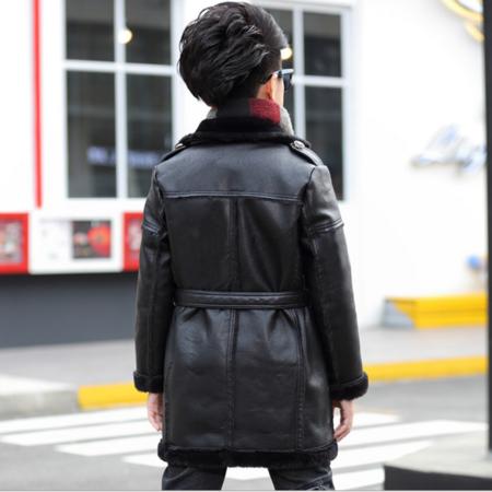 童装男童外套冬款装2016新款儿童皮衣时尚夹克中长款加绒加厚外衣