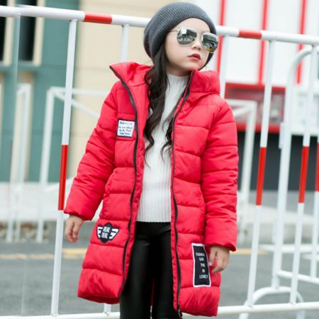 2016冬款女童中长款棉衣中大童保暖加厚外套韩版连帽大童尖帽棉袄潮