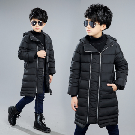 2016男童字母双拉链男童棉衣棉服 韩版潮范印花长款加厚儿童棉衣