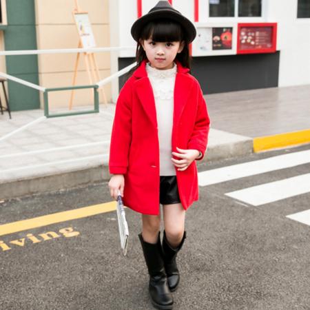 2016秋冬新款毛呢大衣西服领长袖拼接时尚百搭韩版女童外套3-8岁