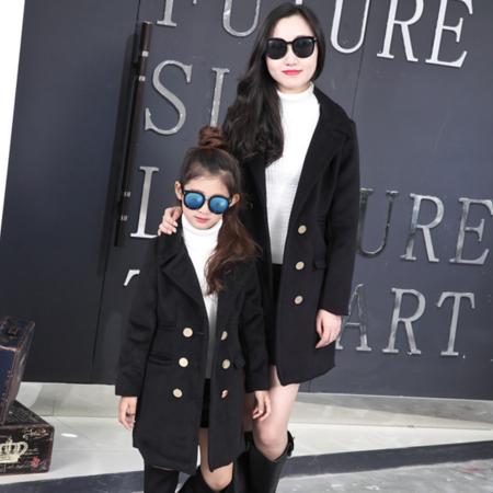 母女2016冬装新款韩版女童中大童西装毛呢外套中长款亲子呢子外套