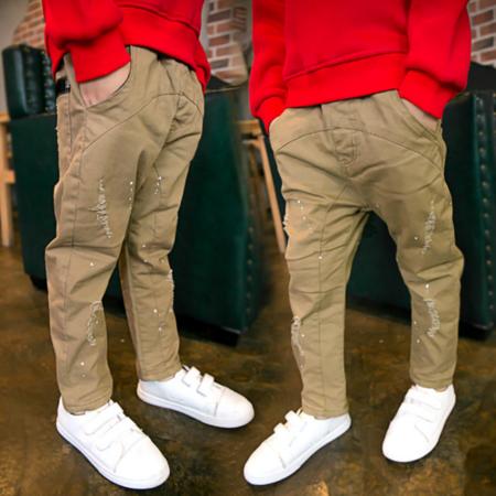 2016新款男童冬裤 冬季新款童装 加厚中大童 喷漆弹力冬裤