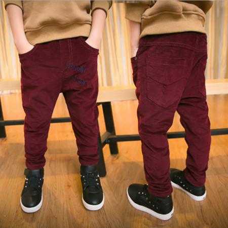 2016冬季韩版新款童装 男童时尚长裤 中大儿童平绒字母夹裤