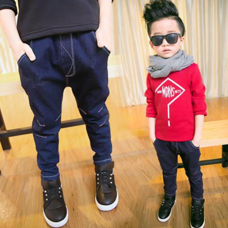 儿童牛仔裤冬款男童简约加绒小脚裤子2016新款童装长款