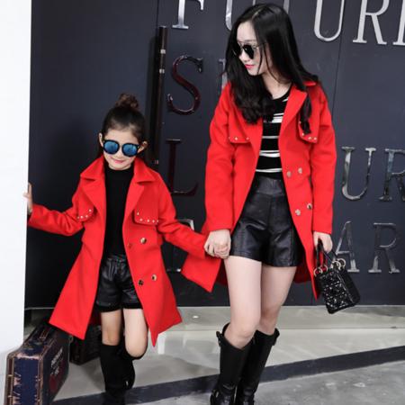 母女装2016冬装新款韩版女童中大童毛呢外套中长款亲子呢子大衣