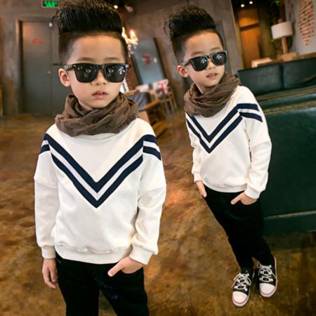 2016冬季韩版新款童装 男童时尚卫衣 中大儿童螺纹不倒绒卫衣