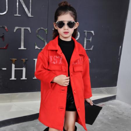 韩版2016冬款新品童装 中大童女童绣花字母呢大衣