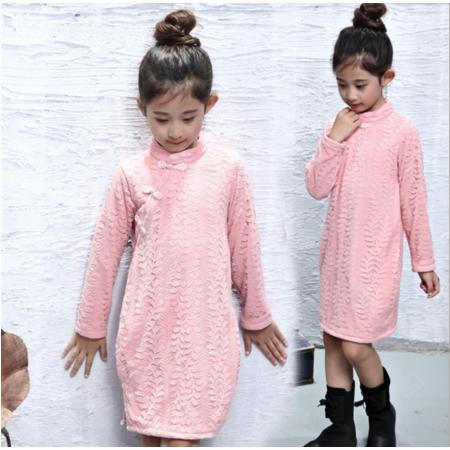 童装2016秋季女童蕾丝精美加绒旗袍裙 儿童中大童短裙