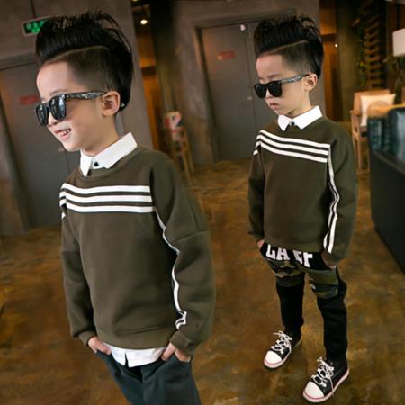 2016冬季韩版新款童装 男童时尚大卫衣 中大儿童潮范镶条大卫衣