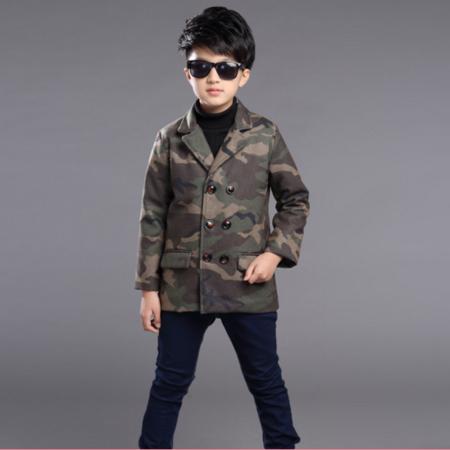 2016冬装新款韩版男童呢子大衣中大童迷彩呢子外套