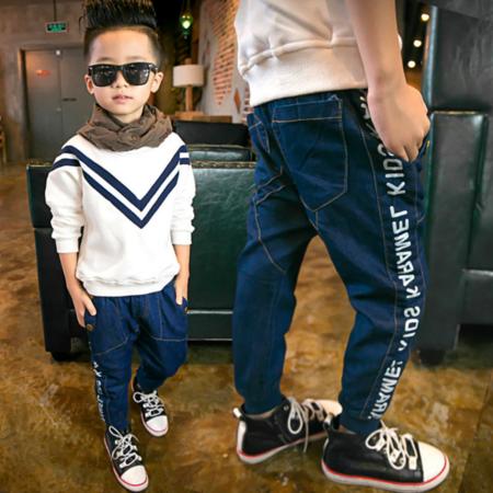 2016冬款儿童牛仔裤 男童韩版新款粒绒加厚 中大童哈伦冬裤