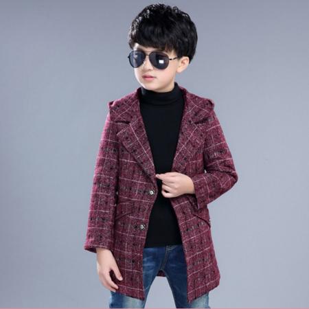2016秋冬新款 韩版中大童格子毛呢中长款呢子外套 男童装毛呢大衣