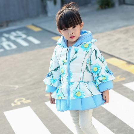 童装2016冬款甜美可爱花朵棉衣外套中小童新款连帽棉袄上衣