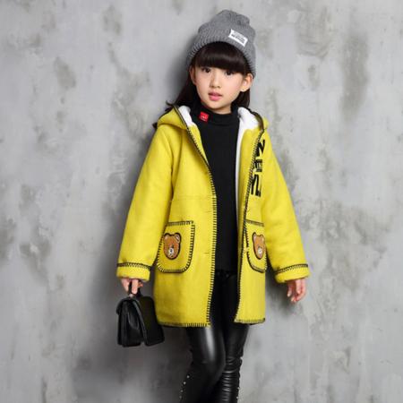 2016童装冬季新品 中大女童小熊字母休闲呢大衣 款女孩外套