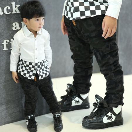 男童时尚棉裤 2016冬季韩版新款童装 中大儿童潮范磨毛迷彩棉裤