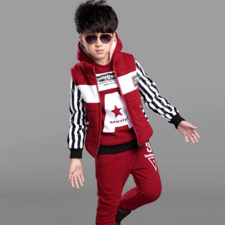 童装男童冬款套装2016新款儿童冬装中大童运动卫衣字母三件套加绒