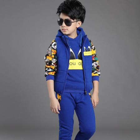 2016男女童冬装运动卫衣套装韩版加厚全棉三件套中大童卡通三件套