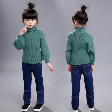 秋冬童装2016女童4高领针织衫儿童时尚竖条纯色毛衣潮装