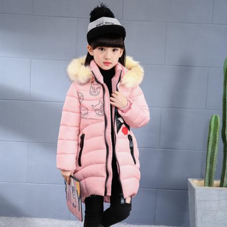 童装2016冬款新款女童韩版修身连帽棉衣女大童蝙蝠棉服毛领棉袄