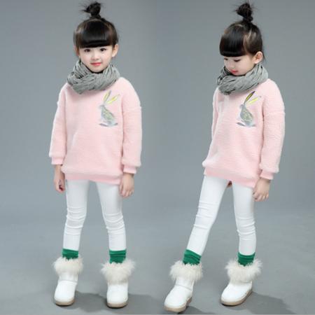 女童中大童甜美卡通兔子羊羔绒外套2016冬季新款御寒保暖修身衣潮