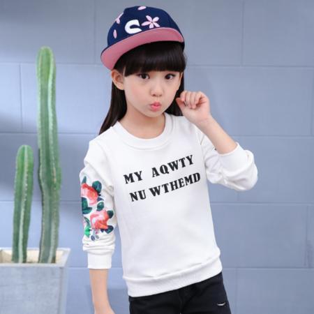 童装冬装2016新款大童字母花朵加厚儿童T恤女童圆领加绒打底衫