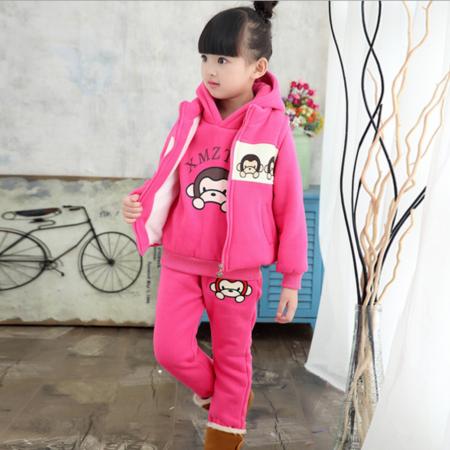童装女童套装秋冬装小猴子三件套儿童2016新款女孩衣服中大童卫衣