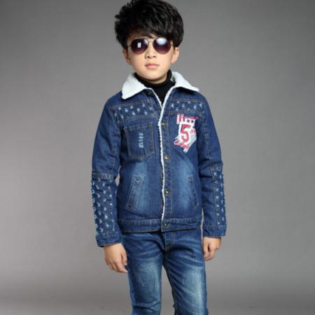 童装2016冬新款韩版儿童羊羔毛加厚牛仔外套男童加绒休闲牛仔衣