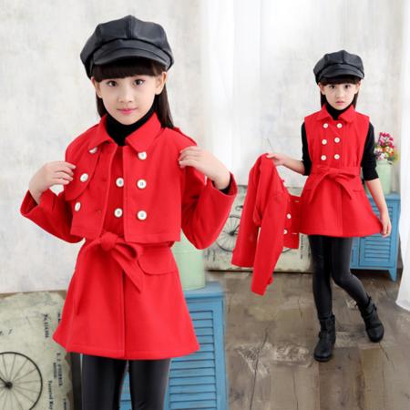 童装儿童套装2016冬装新款女童加厚毛呢子裙套装两件套