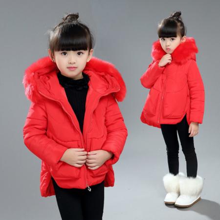 2016冬款新款中大童女童韩版加厚大毛领纯色保暖口袋长款棉衣