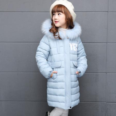 16冬季新款女童中大童潮韩版加厚时尚毛领连帽中长款字母棉衣