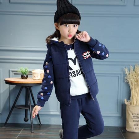 韩版童装女童秋冬装2016新款中大童女孩运动时尚加厚小熊三件套装