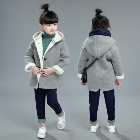 童装 2016冬季新款韩版 女童中大童纯色复合羊羔绒大衣