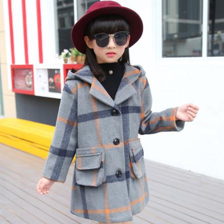 女童冬款呢子大衣外套2016新款韩版中大童连帽加绒呢子大衣潮款