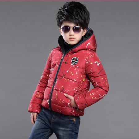 童棉衣2016冬季新款韩版男童中大童时尚带帽加厚泼墨棉衣潮