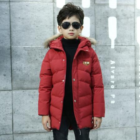 儿童羽绒服2016冬季新款韩版男童中大童蝴蝶结外套中长款