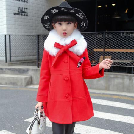 2016秋冬新款韩版毛呢大衣女童中大童呢子毛领娃娃呢大衣