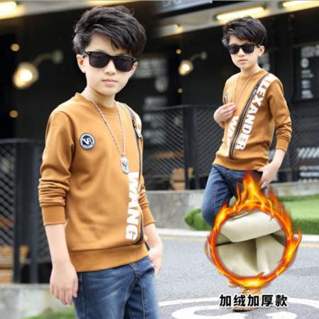 童装2016冬款男童加绒加厚T恤时尚韩版前装饰拉链打底衫