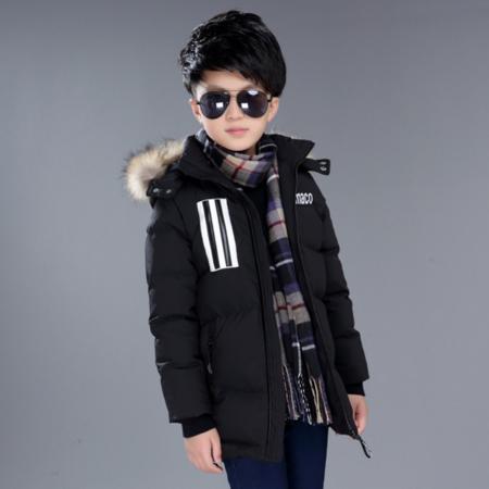 儿童羽绒服2016冬季新款韩版男童中大童加厚羽绒服外套中长款