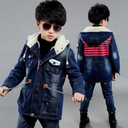 童装男童外套2016冬装新款儿童韩版牛仔衣加绒加厚休闲风衣外套潮