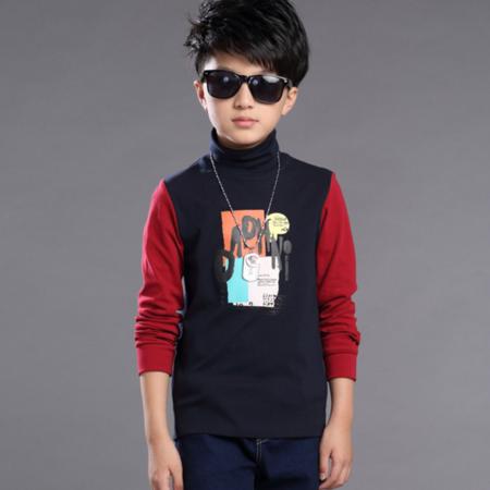 2016冬款男童加绒T恤儿童长袖打底衫字母印花加绒加厚高领打底衫上衣