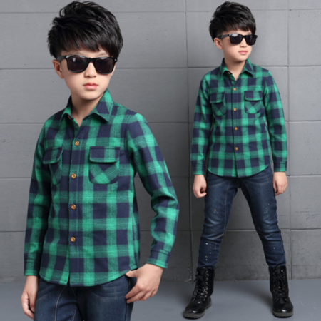 男童衬衫长袖韩版 2016秋冬新款儿童加绒格子衬衣外贸童装潮