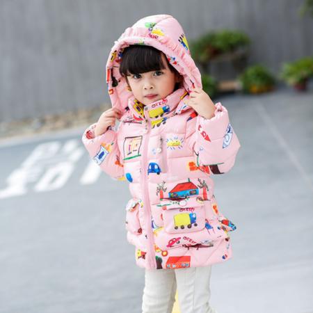 2016冬季新款 童装加厚女童汽车图案印花中小童小棉衣
