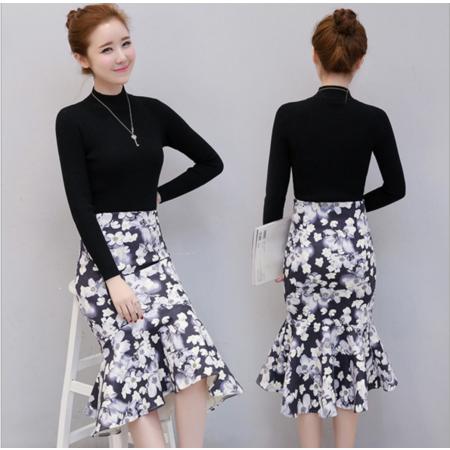 2016冬装新款收腰针织上衣+印花鱼尾短裙两件套套装女