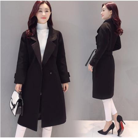 2016秋冬韩版新款毛呢大衣 中长款系带夹棉呢子外套 女