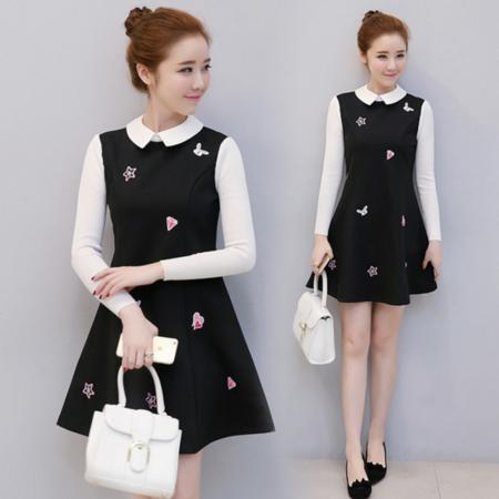 2016冬装新款加厚娃娃领刺绣连衣裙女 长袖修身短裙